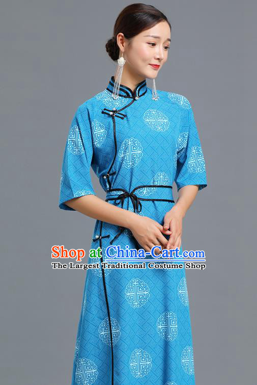 Traditional Chinese Ethnic Informal Costume Woman Apparels Mongol Minority Garment Mongolian Nationality Blue Dress