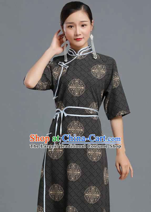 Traditional Chinese Ethnic Informal Costume Woman Apparels Mongol Minority Garment Mongolian Nationality Black Dress
