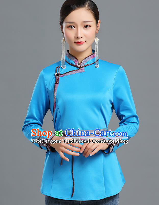Traditional Chinese Ethnic Blue Blouse Woman Apparels Mongol Minority Upper Outer Garment Mongolian Nationality Informal Costume