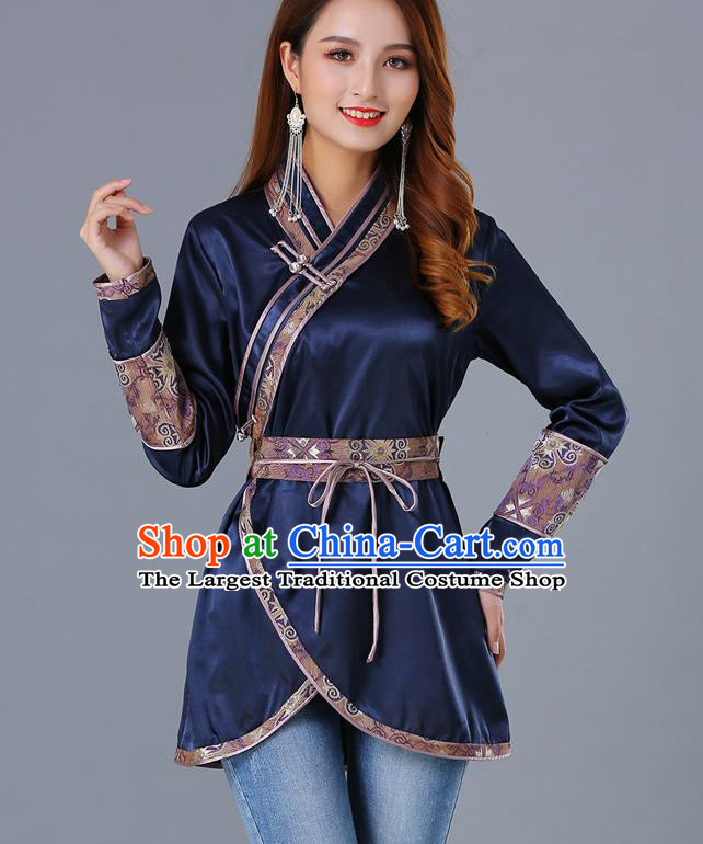 Traditional Chinese Ethnic Woman Navy Blouse Apparels Mongol Minority Upper Outer Garment Mongolian Nationality Informal Costume