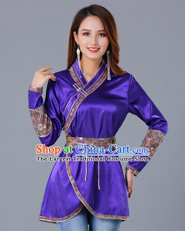 Traditional Chinese Ethnic Woman Purple Blouse Apparels Mongol Minority Upper Outer Garment Mongolian Nationality Informal Costume