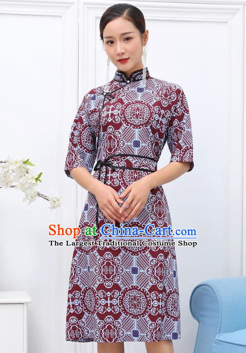 Traditional Chinese Ethnic Woman Wine Red Dress Mongol Minority Garment Costume Mongolian Nationality Informal Apparels