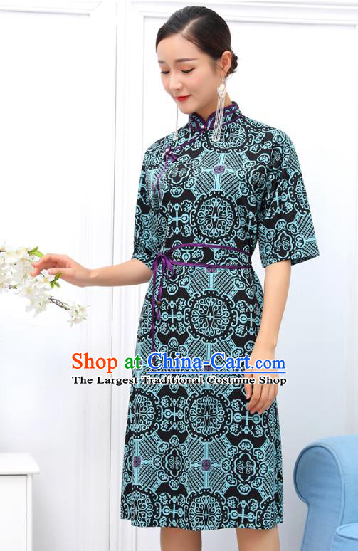 Traditional Chinese Ethnic Woman Green Dress Mongol Minority Garment Costume Mongolian Nationality Informal Apparels
