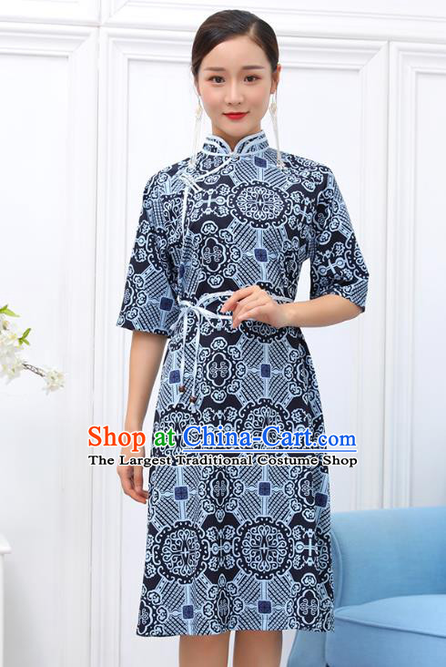 Traditional Chinese Ethnic Woman Blue Dress Mongol Minority Garment Costume Mongolian Nationality Informal Apparels