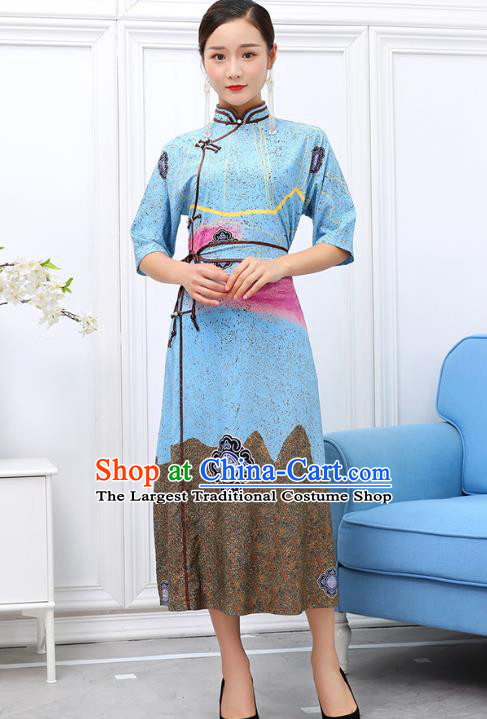 Traditional Chinese Ethnic Blue Chiffon Dress Mongol Minority Garment Costume Mongolian Nationality Informal Apparels for Woman