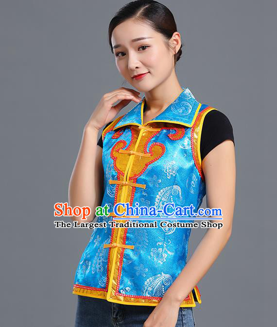 Traditional Chinese Mongol Ethnic Blue Brocade Vest Minority Garment Costume Mongolian Nationality Informal Waistcoat Apparels for Woman