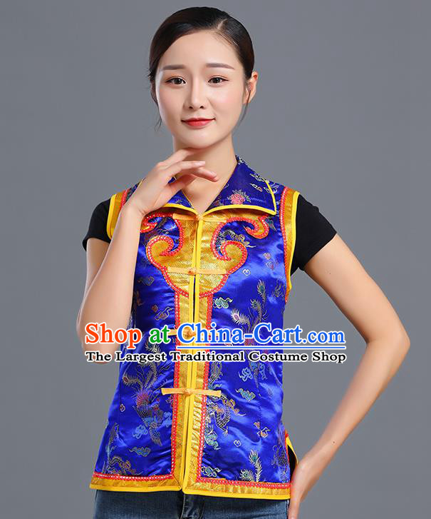 Traditional Chinese Mongol Ethnic Royalblue Brocade Vest Minority Garment Costume Mongolian Nationality Informal Waistcoat Apparels for Woman