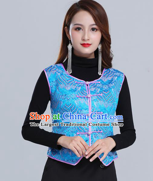 Traditional Chinese Tang Suit Blue Brocade Vest Mongol Ethnic Minority Garment Mongolian Nationality Waistcoat Apparels Costume for Woman
