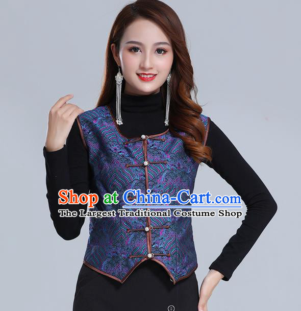 Traditional Chinese Tang Suit Navy Brocade Vest Mongol Ethnic Minority Garment Mongolian Nationality Waistcoat Apparels Costume for Woman
