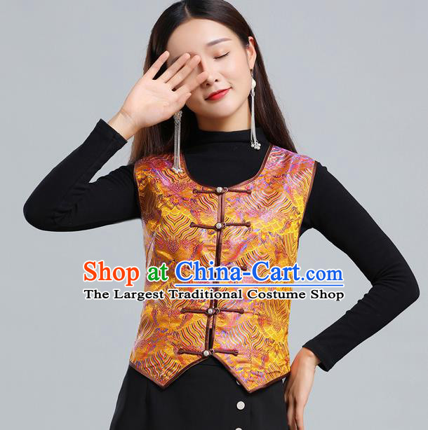 Traditional Chinese Tang Suit Golden Brocade Vest Mongol Ethnic Minority Garment Mongolian Nationality Waistcoat Apparels Costume for Woman