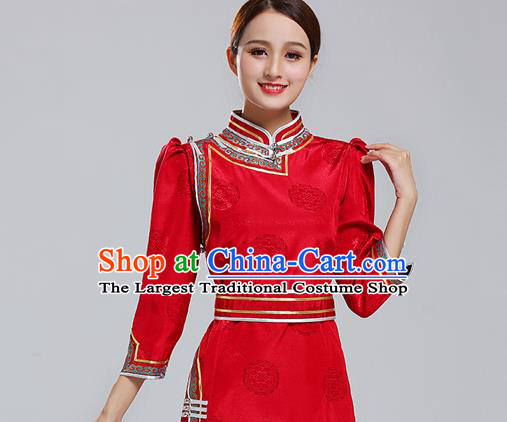 Traditional Chinese Ethnic Costume Mongol Minority Red Dress Garment Mongolian Nationality Apparels for Woman