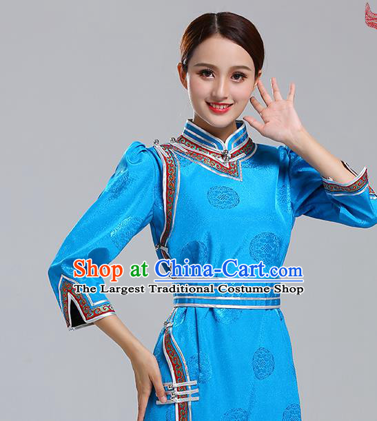 Traditional Chinese Ethnic Costume Mongol Minority Blue Dress Garment Mongolian Nationality Apparels for Woman
