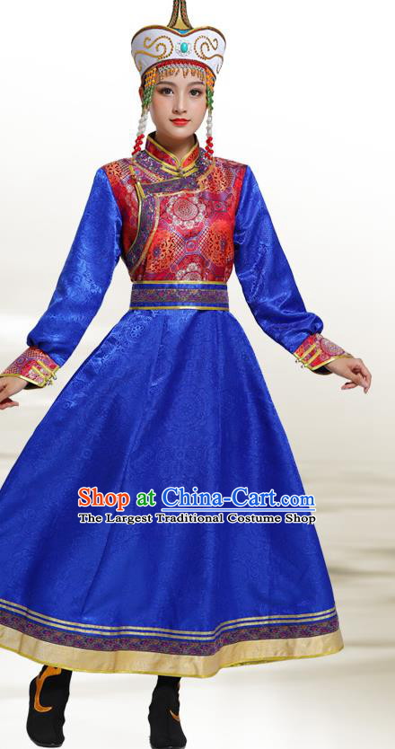 Traditional Chinese Ethnic Folk Dance Costume Mongol Minority Royalblue Dress Garment Mongolian Nationality Women Apparels