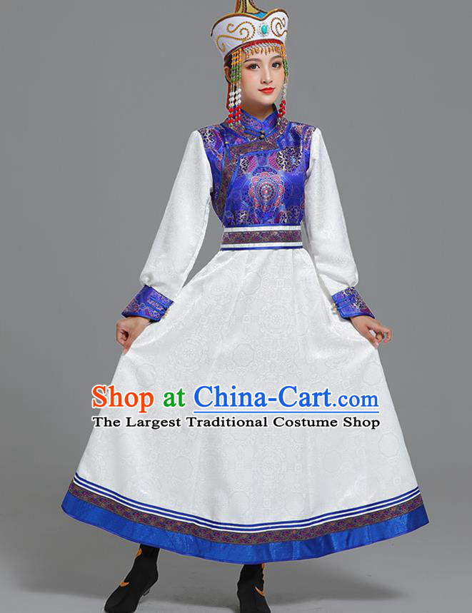 Traditional Chinese Ethnic Folk Dance Costume Mongol Minority White Dress Garment Mongolian Nationality Women Apparels