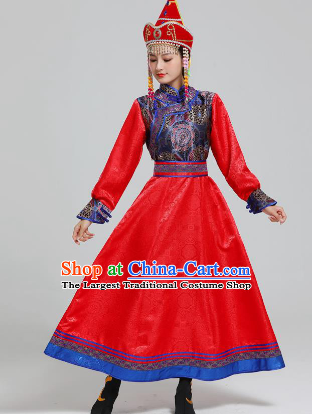 Traditional Chinese Ethnic Folk Dance Costume Mongol Minority Red Dress Garment Mongolian Nationality Women Apparels