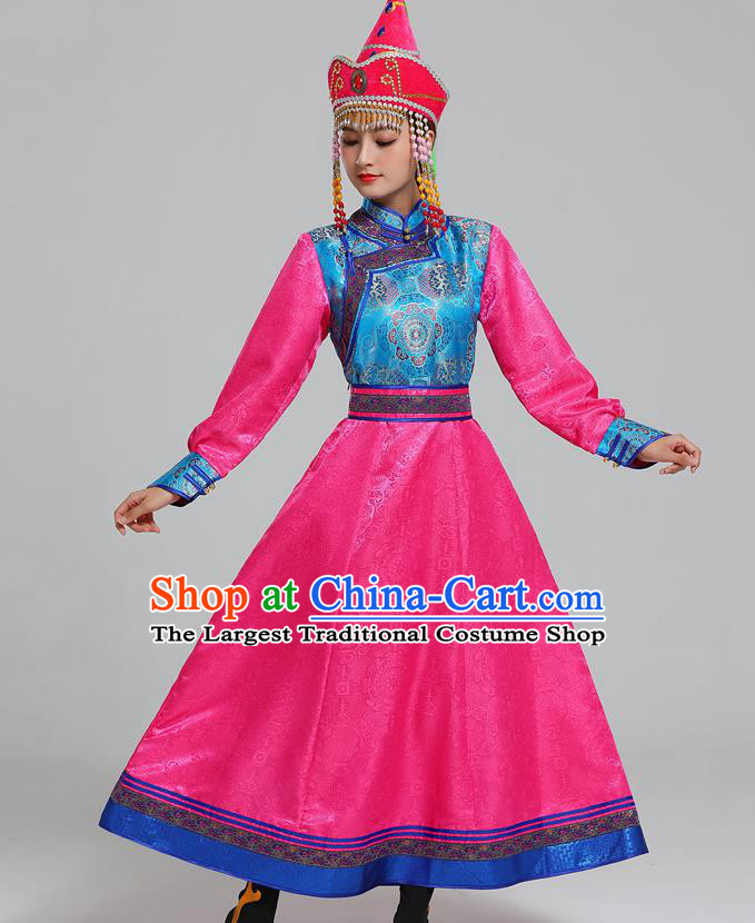 Traditional Chinese Ethnic Folk Dance Costume Mongol Minority Rosy Dress Garment Mongolian Nationality Women Apparels
