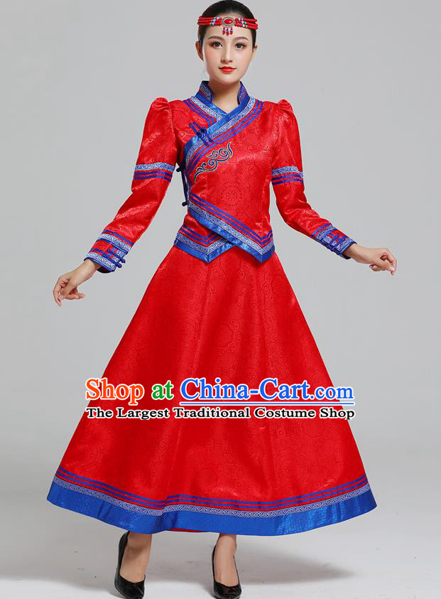 Traditional Chinese Mongol Minority Ethnic Costume Garment Mongolian Nationality Women Folk Dance Apparels Red Blouse and Skirt