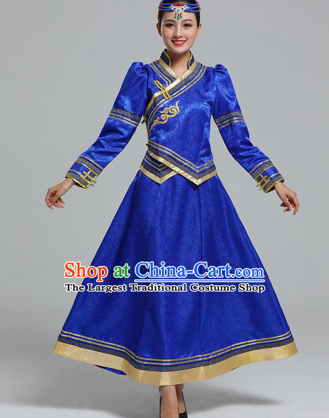 Traditional Chinese Mongol Minority Ethnic Costume Garment Mongolian Nationality Women Folk Dance Apparels Royalblue Blouse and Skirt