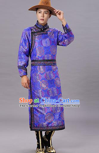 Chinese Traditional Ethnic Dance Garment Mongol Minority Costume Royalblue Brocade Mongolian Robe for Men
