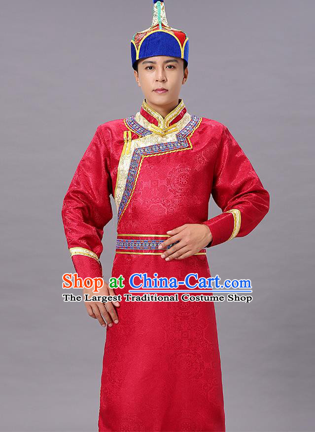 Chinese Traditional Ethnic Red Brocade Mongolian Robe Dance Garment Mongol Minority Costume for Men