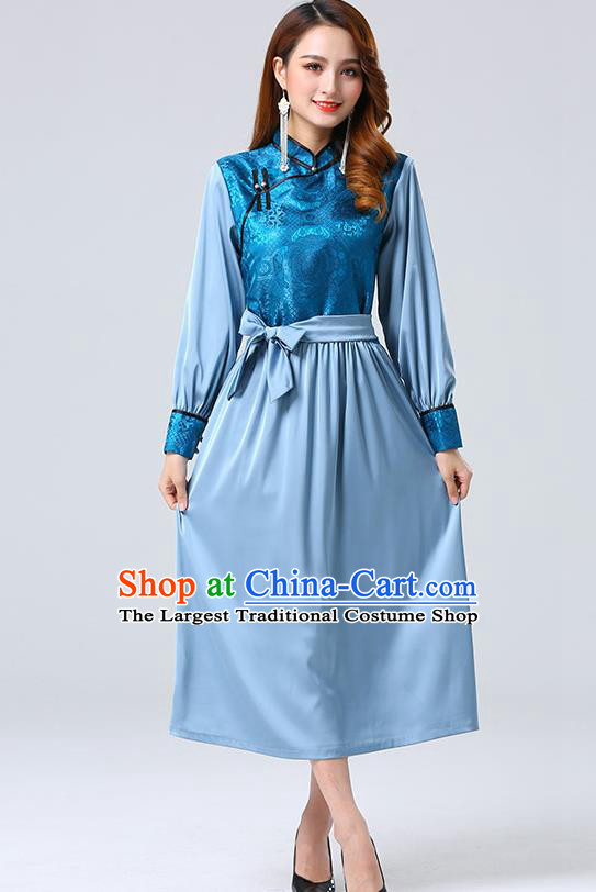 Traditional Chinese Mongol Minority Ethnic Costume Garment Mongolian Nationality Women Blue Dress Apparels