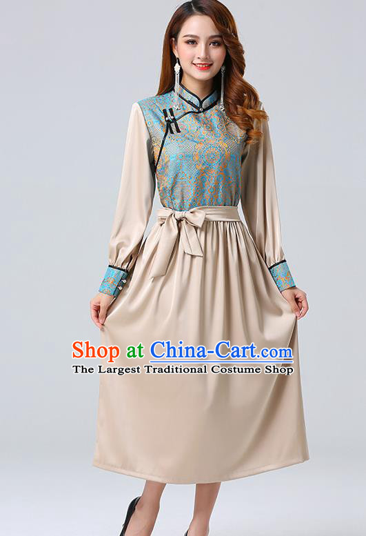 Traditional Chinese Mongol Minority Ethnic Costume Garment Mongolian Nationality Women Champagne Dress Apparels