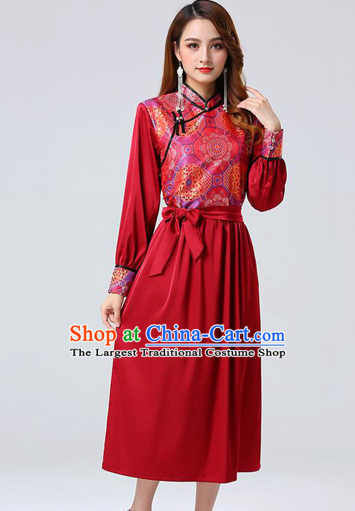 Traditional Chinese Mongol Minority Ethnic Costume Garment Mongolian Nationality Women Red Dress Apparels