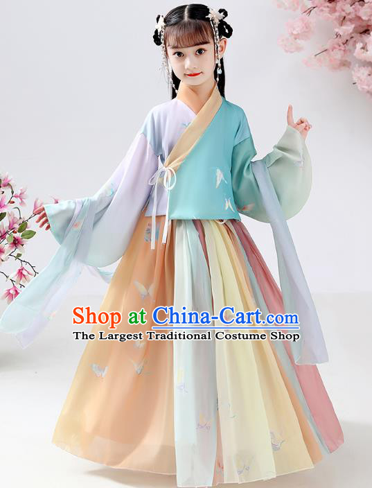 Chinese Ancient Children Butterfly Costumes Traditional Hanfu Ming Dynasty Girls Printing Blouse and Skirt for Kids