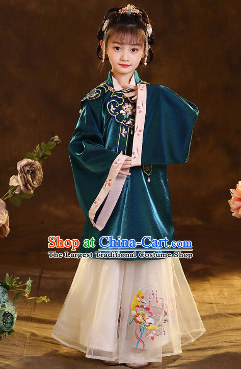 Chinese Traditional Tang Suit Green Blouse and Beige Skirt Ancient Girl Hanfu Costumes for Kids