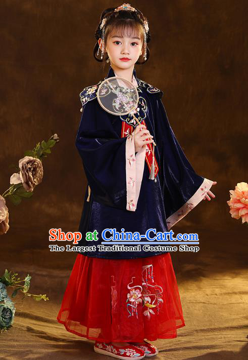 Chinese Traditional Tang Suit Deep Blue Blouse and Red Skirt Ancient Girl Hanfu Costumes for Kids