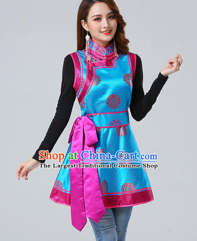 Traditional Chinese Mongol Minority Blue Brocade Vest Dress Ethnic Costume Mongolian Nationality Women Garment Apparels