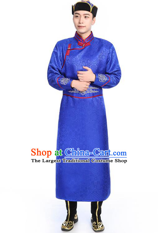 Chinese Traditional Royalblue Brocade Mongolian Robe Ethnic Men Dance Garment Mongol Minority Wedding Costume