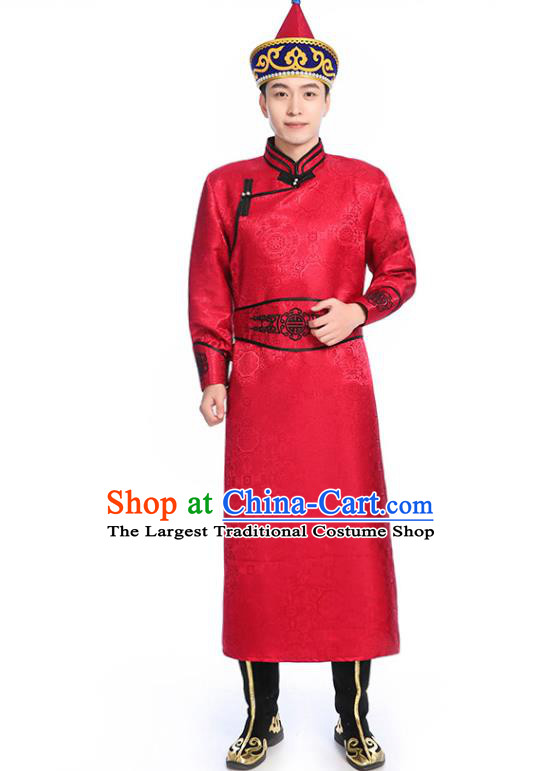 Chinese Traditional Red Brocade Mongolian Robe Ethnic Men Dance Garment Mongol Minority Wedding Costume