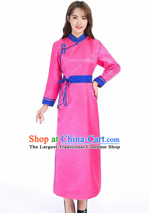 Traditional Chinese Mongol Minority Pink Brocade Mongolian Robe Apparels Ethnic Costume Mongolian Nationality Women Garment Dress