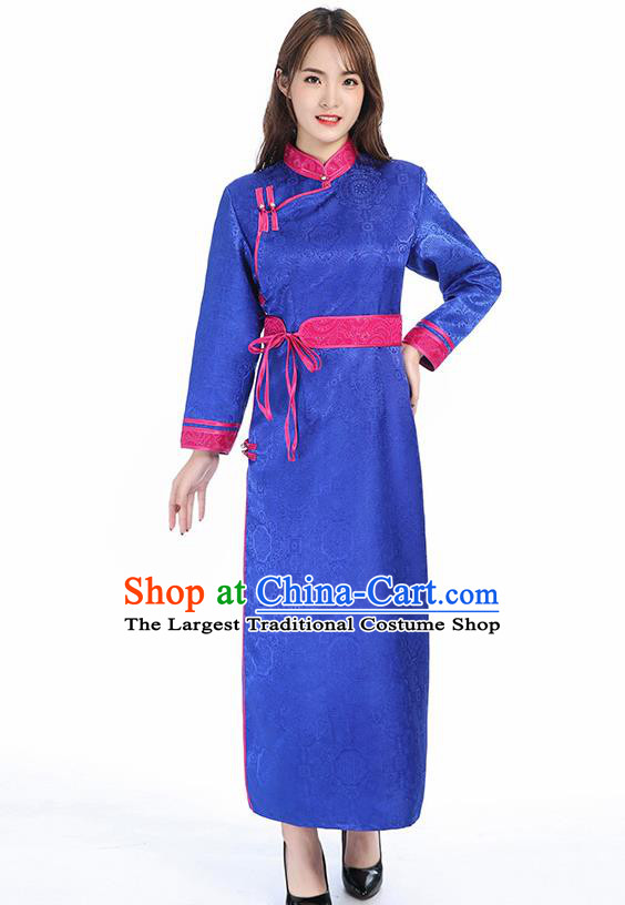 Traditional Chinese Mongol Minority Royalblue Brocade Mongolian Robe Apparels Ethnic Costume Mongolian Nationality Women Garment Dress