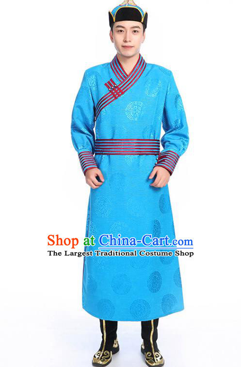 Chinese Traditional Ethnic Blue Mongolian Robe Mongolian Men Dance Garment Mongol Minority Stage Performance Costume