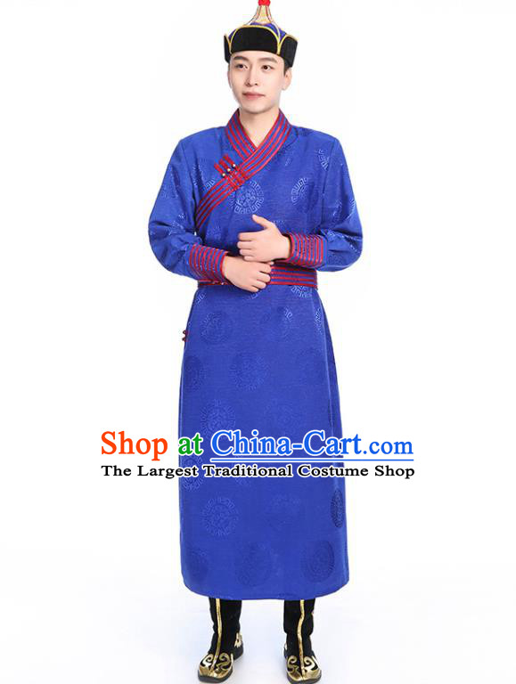 Chinese Traditional Ethnic Royalblue Mongolian Robe Mongolian Men Dance Garment Mongol Minority Stage Performance Costume