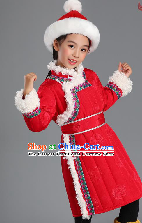 Traditional Chinese Mongol Minority Kids Red Mongolian Robe Winter Apparels Ethnic Costume Mongolian Nationality Children Garment