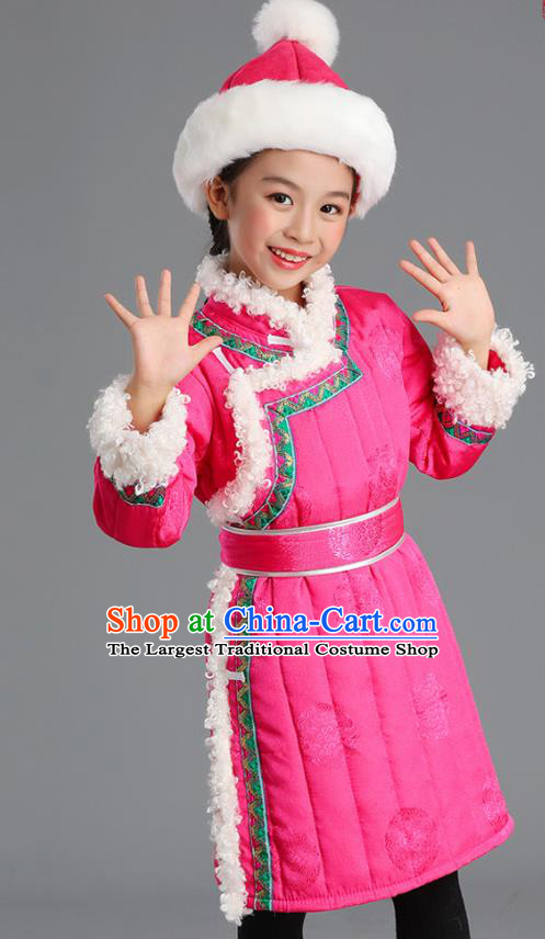 Traditional Chinese Mongol Minority Kids Pink Mongolian Robe Winter Apparels Ethnic Costume Mongolian Nationality Children Garment