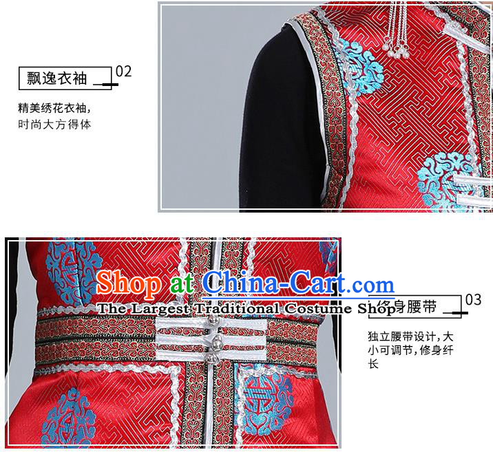 Traditional Chinese Ethnic Women Red Brocade Vest Apparels Mongol Minority Garment Nationality Folk Dance Costume