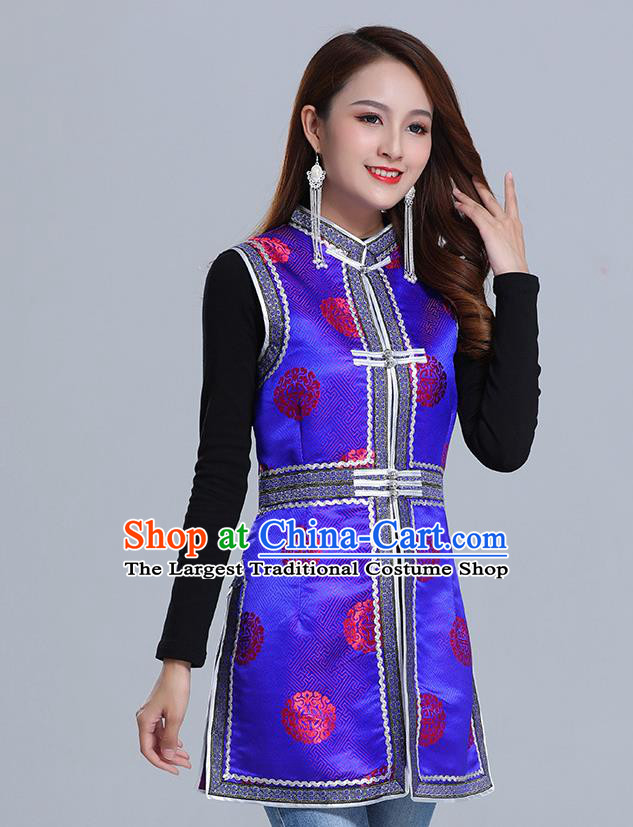 Traditional Chinese Ethnic Women Royalblue Brocade Vest Apparels Mongol Minority Garment Nationality Folk Dance Costume