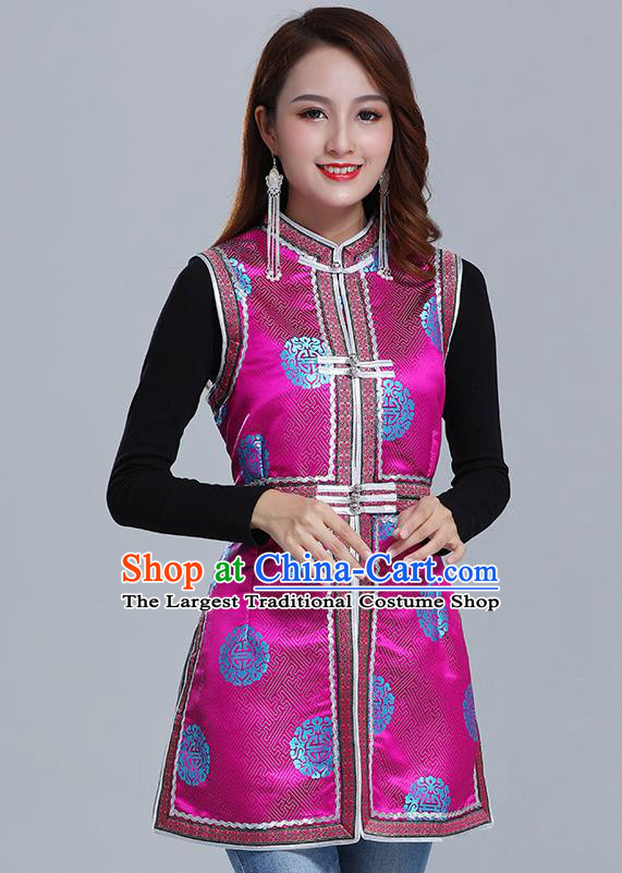 Traditional Chinese Ethnic Women Rosy Brocade Vest Apparels Mongol Minority Garment Nationality Folk Dance Costume