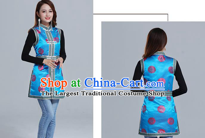 Traditional Chinese Ethnic Women Blue Brocade Vest Apparels Mongol Minority Garment Nationality Folk Dance Costume