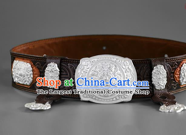 Traditional Chinese Mongol Minority Deep Brown Leather Belt Mongolian Ethnic Folk Dance Waistband for Men