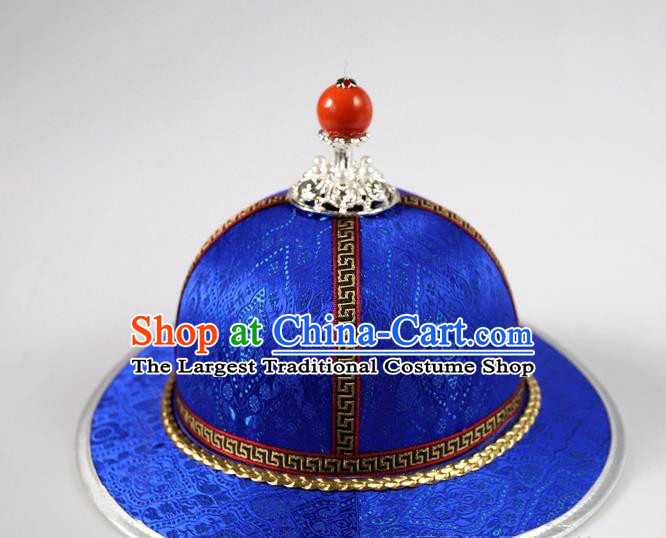 Traditional Chinese Mongol Minority Children Royalblue Brocade Hat Mongolian Ethnic Dance Performance Headwear for Kids