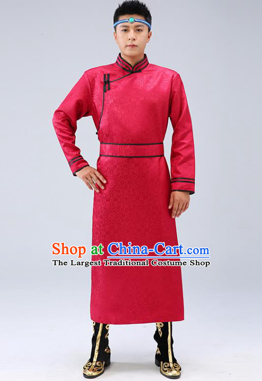 Chinese Traditional Men Red Brocade Mongolian Robe Ethnic Dance Garment Mongol Minority Wedding Costume