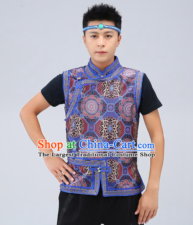 Chinese Traditional Mongol Minority Navy Brocade Vest Mongolian Costume Ethnic Men Upper Outer Garment Waistcoat