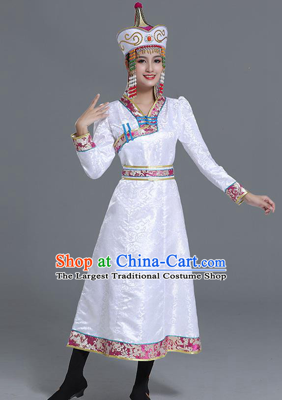 Traditional Chinese Ethnic Women White Brocade Mongolian Robe Dance Apparels Mongol Minority Dress Garment Nationality Costume