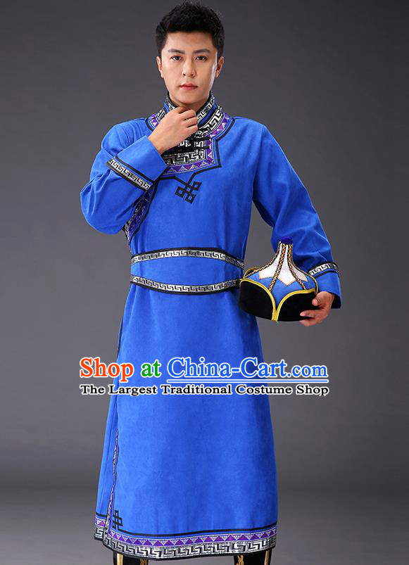 Chinese Traditional Royalblue Suede Fabric Mongolian Robe Costume Mongol Minority Ethnic Men Stage Performance Garment