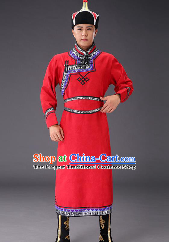 Chinese Traditional Red Suede Fabric Mongolian Robe Costume Mongol Minority Ethnic Men Stage Performance Garment